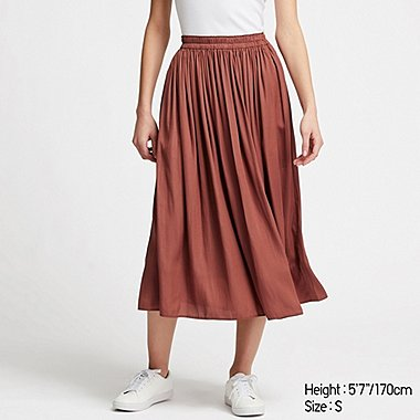 WOMEN GATHERED SKIRT, BROWN, medium