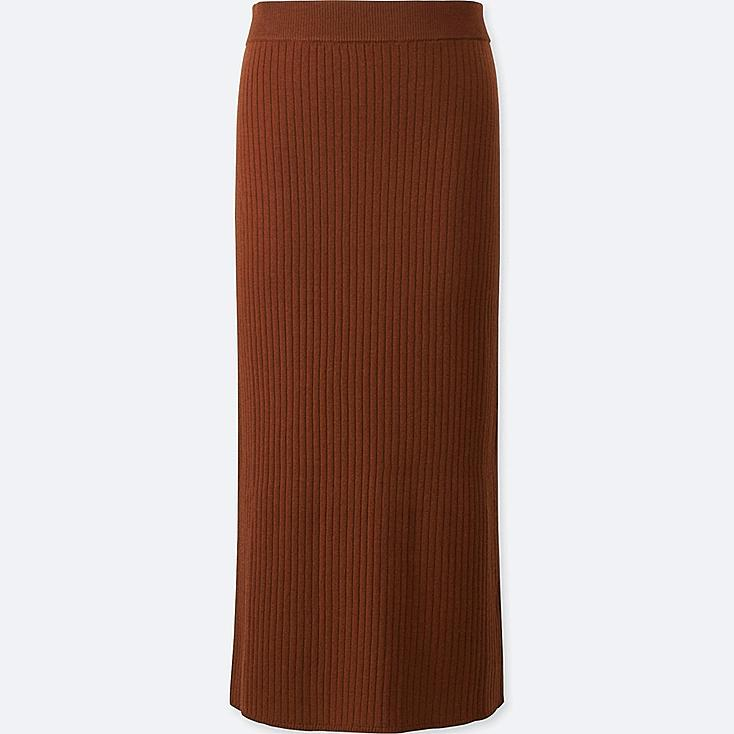 WOMEN MERINO BLEND RIBBED SKIRT, BROWN, large
