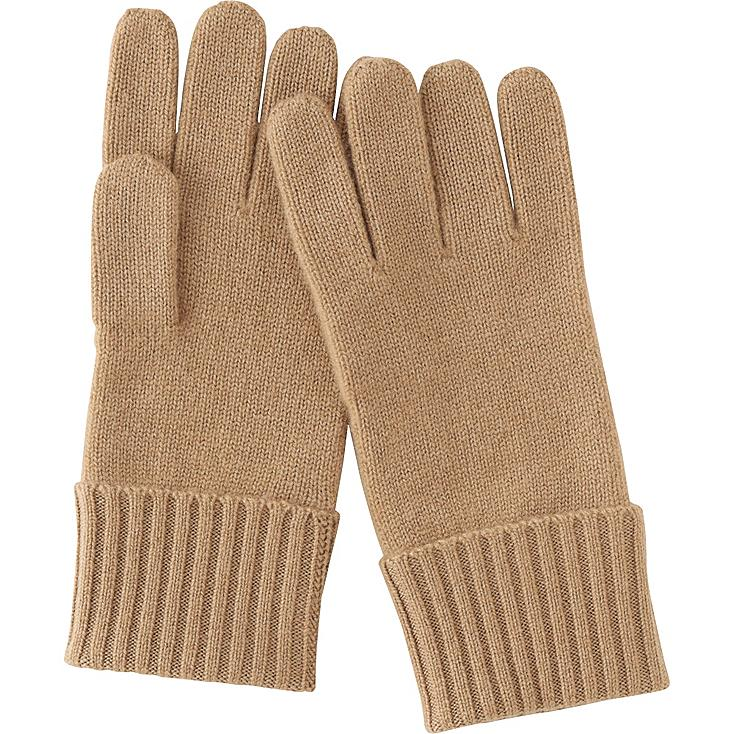WOMEN CASHMERE GLOVES, BROWN, large
