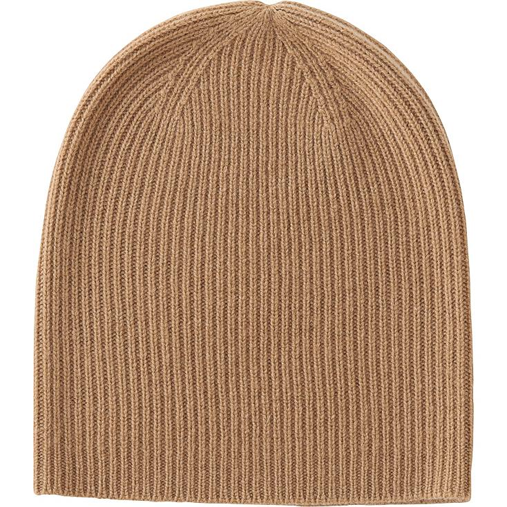 WOMEN CASHMERE BEANIE, BROWN, large