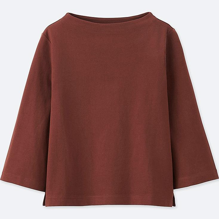 women mock neck wide 3 4 sleeve t shirt uniqlo us