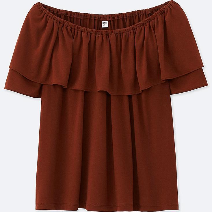 Women 2Way Short Sleeve Ruffle Off Shoulder T-Shirt, BROWN, large