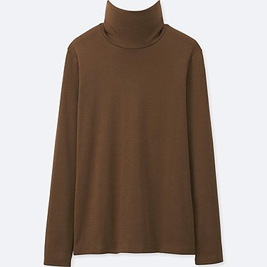 WOMEN SUPIMA COTTON TURTLE NECK LONG SLEEVE T-SHIRT