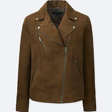 WOMEN RIDERS faux suede DOUBLE JACKET