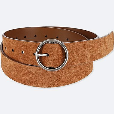 WOMEN SUEDE WIDE BELT, BROWN, medium
