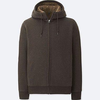 MEN PILE LINED SWEAT FULL-ZIP HOODIE