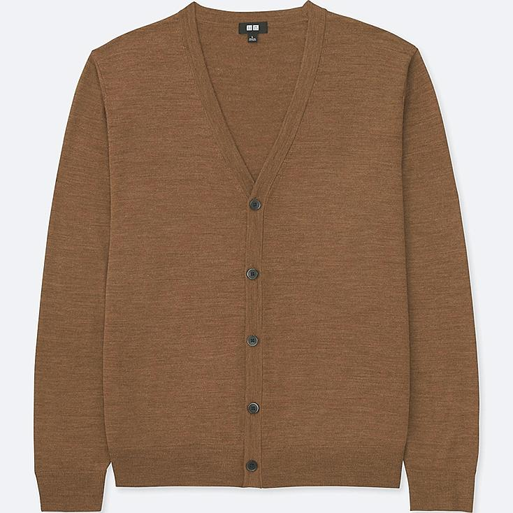MEN EXTRA FINE MERINO V-NECK LONG-SLEEVE CARDIGAN, BROWN, large
