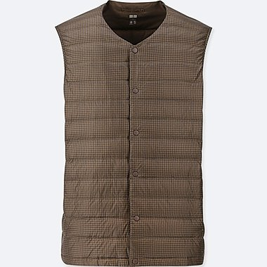 MEN ULTRA LIGHT DOWN COMPACT V-NECK PRINT VEST, BROWN, medium