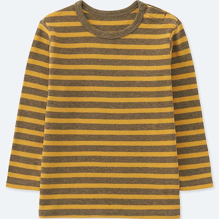 TODDLER CREW NECK LONG-SLEEVE T-SHIRT, BROWN, large