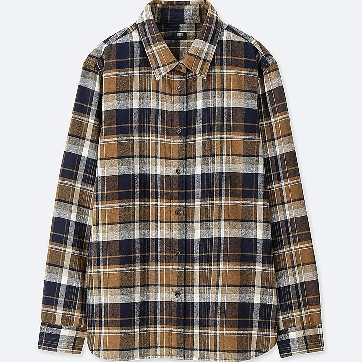 WOMEN FLANNEL CHECKED LONG-SLEEVE SHIRT, BROWN, large