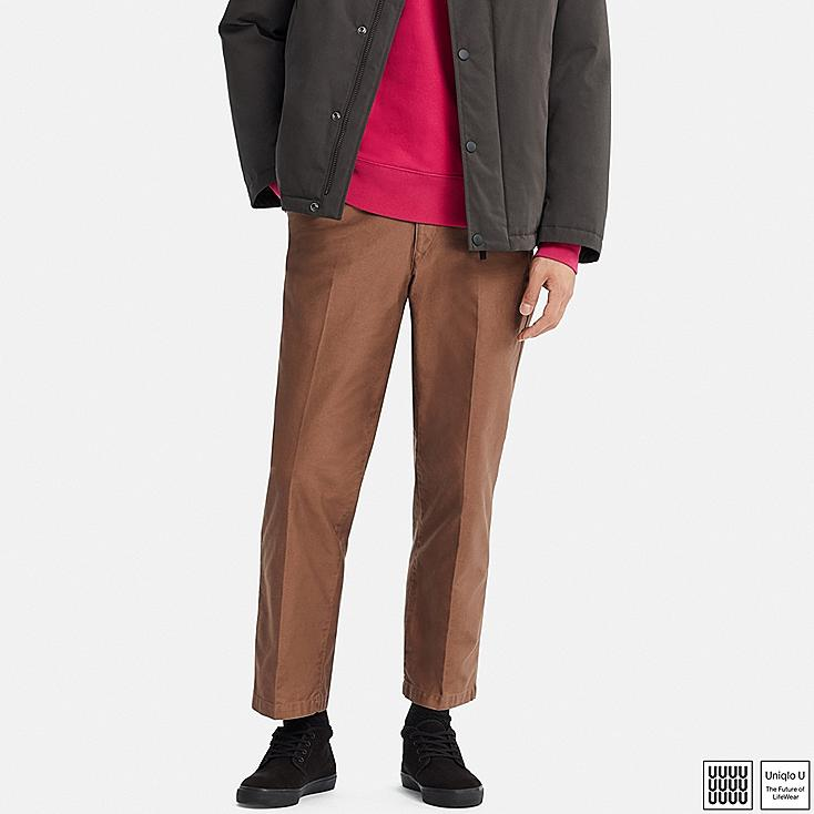 MEN U REGULAR-FIT ANKLE-LENGTH PANTS, BROWN, large