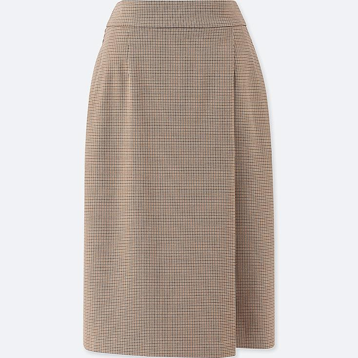 WOMEN CHECKED NARROW SKIRT, BROWN, large