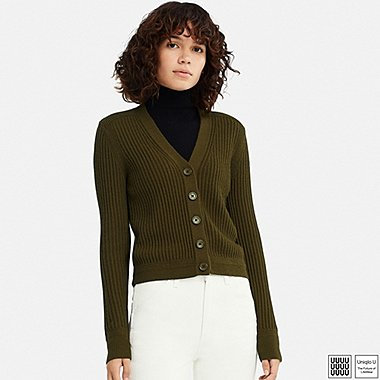 WOMEN UNIQLO U MERINO BLEND V NECK CARDIGAN