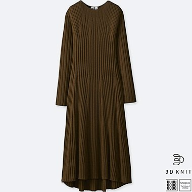 WOMEN UNIQLO U 3D EXTRA FINE MERINO RIBBED FLARED DRESS