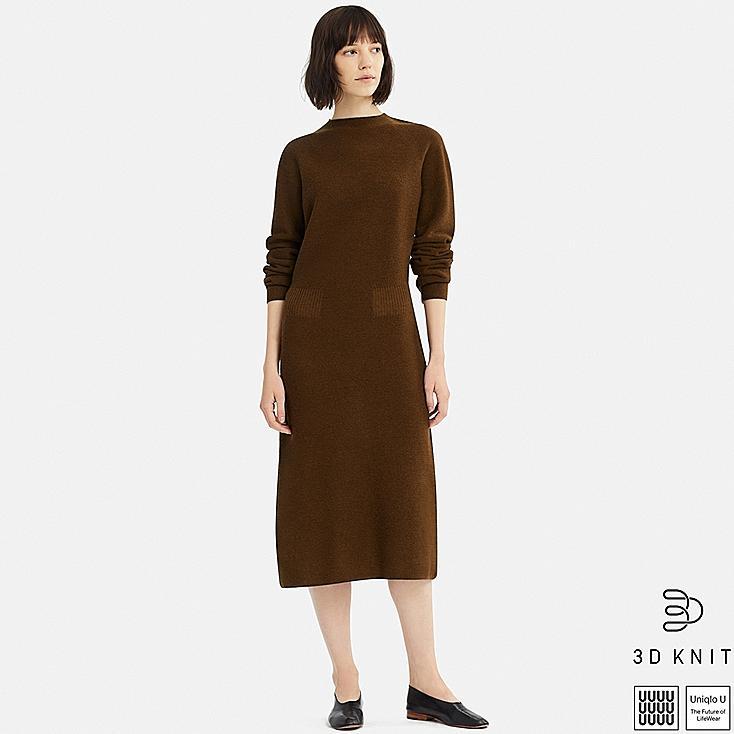 WOMEN U 3D WOOL MOCK NECK LONG-SLEEVE DRESS, BROWN, large