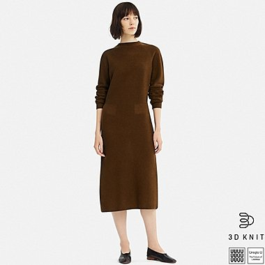 WOMEN U 3D WOOL MOCK NECK LONG-SLEEVE DRESS, BROWN, medium