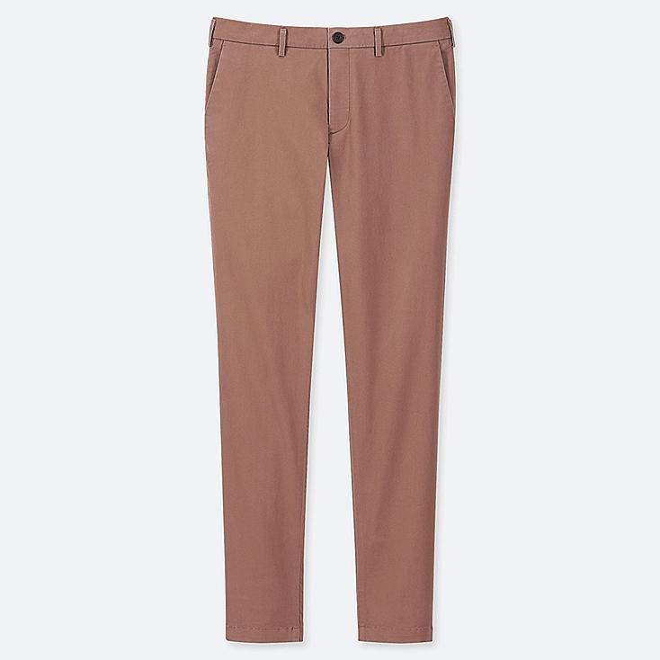 MEN SLIM-FIT CHINO FLAT-FRONT PANTS, BROWN, large