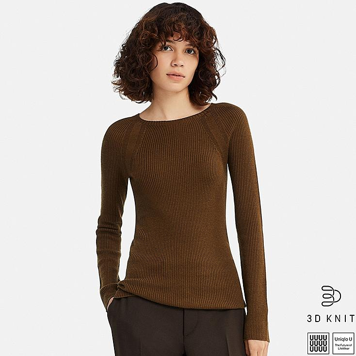 WOMEN U 3D EXTRA FINE MERINO RIBBED SWEATER, BROWN, large