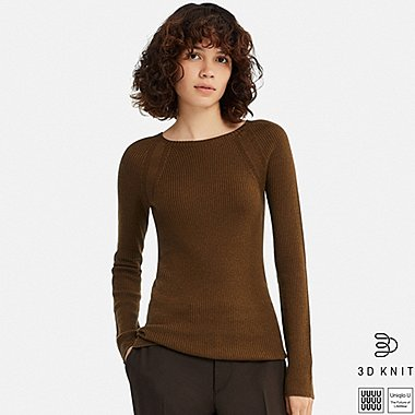 WOMEN U 3D EXTRA FINE MERINO RIBBED SWEATER, BROWN, medium