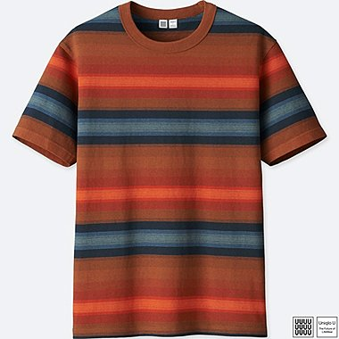 MEN U STRIPED SHORT-SLEEVE T-SHIRT, BROWN, medium