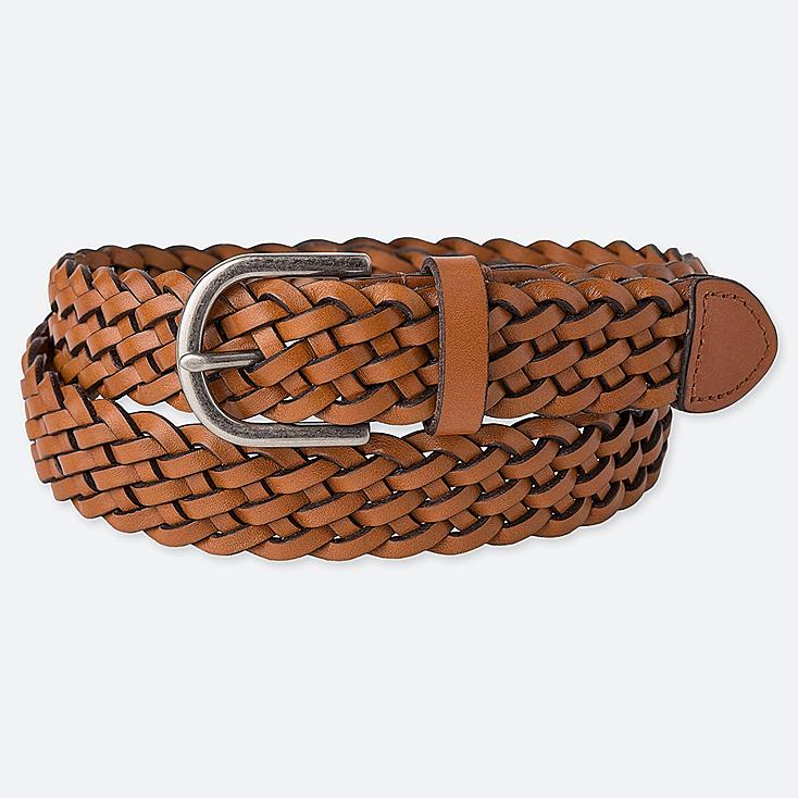 WOMEN MESH BELT, BROWN, large