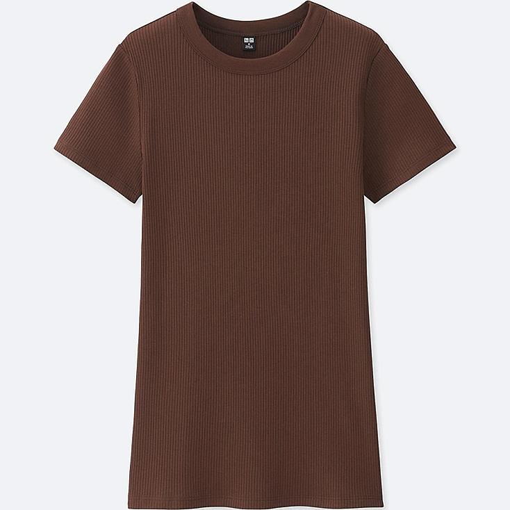 WOMEN Supima® COTTON RIBBED CREW NECK SHORT SLEEVE T-SHIRT, BROWN, large