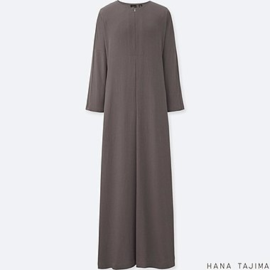 WOMEN HANA TAJIMA RAYON LONG SLEEVE LONG DRESS