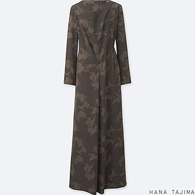 WOMEN HANA TAJIMA PRINTED TUCK LONG SLEEVE LONG DRESS