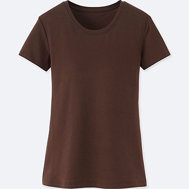 Women Bra Crew Neck Short Sleeve T-Shirt, BROWN, medium