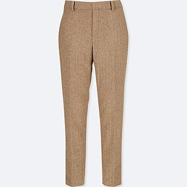 WOMEN TWEED ANKLE-LENGTH PANTS, BROWN, medium