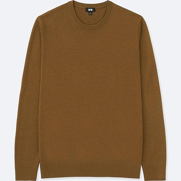 MEN EXTRA FINE MERINO CREW NECK LONG-SLEEVE SWEATER, BROWN, large