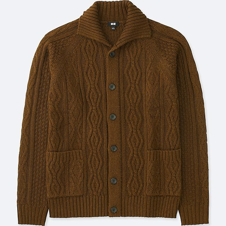 MEN CABLE KNIT LONG-SLEEVE CARDIGAN, BROWN, large