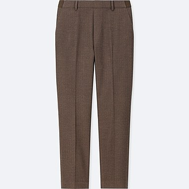 WOMEN EZY ANKLE-LENGTH PANTS, BROWN, medium