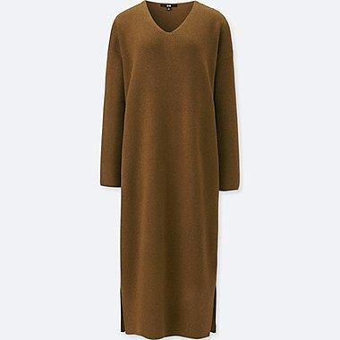 WOMEN KNIT RIBBED V NECK LONG SLEEVED DRESS