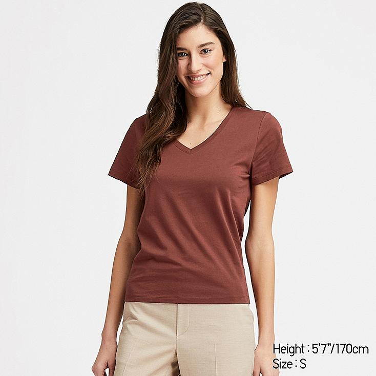 WOMEN SUPIMA® COTTON V-NECK SHORT-SLEEVE T-SHIRT, BROWN, large
