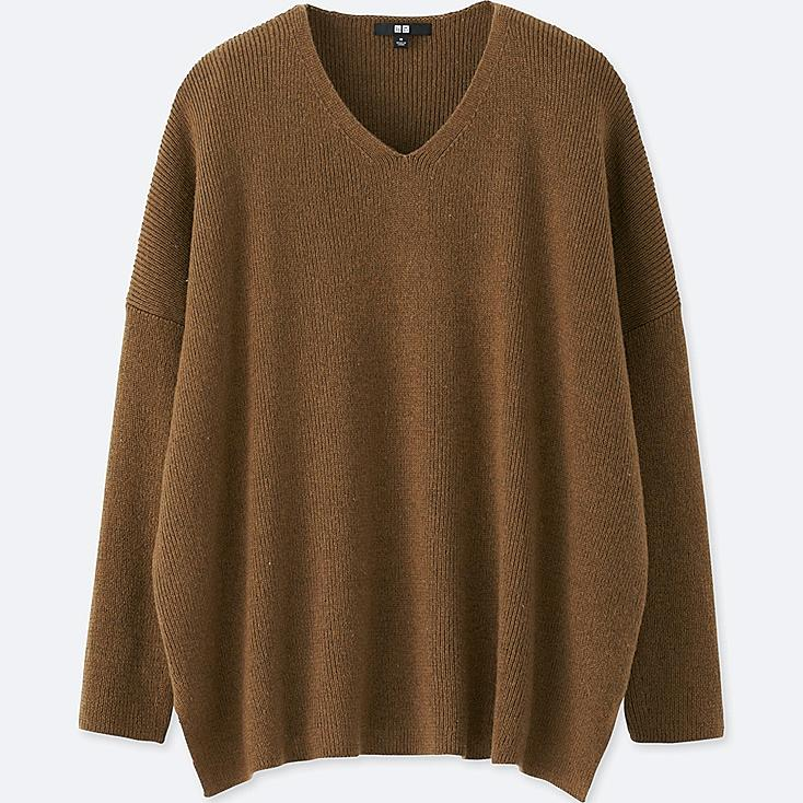 WOMEN RIBBED BOXY V-NECK LONG SWEATER, BROWN, large