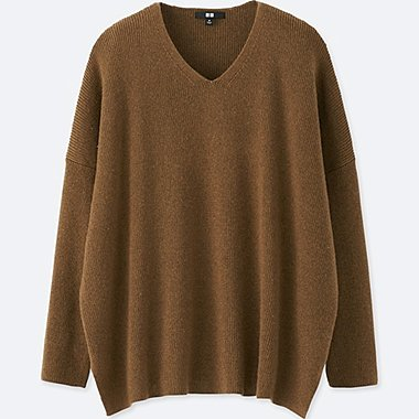 WOMEN RIBBED BOXY V-NECK LONG SWEATER, BROWN, medium