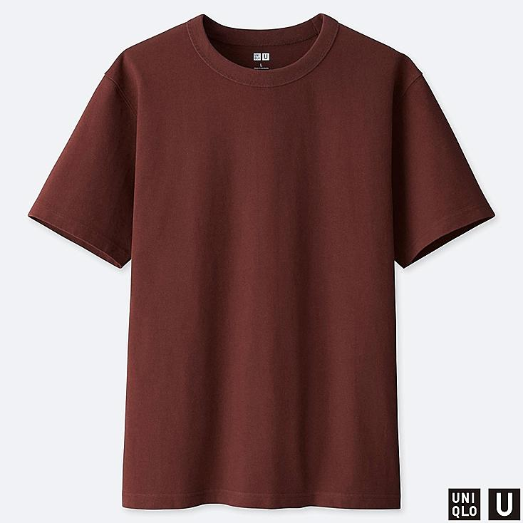 MEN U CREW NECK SHORT-SLEEVE T-SHIRT, BROWN, large