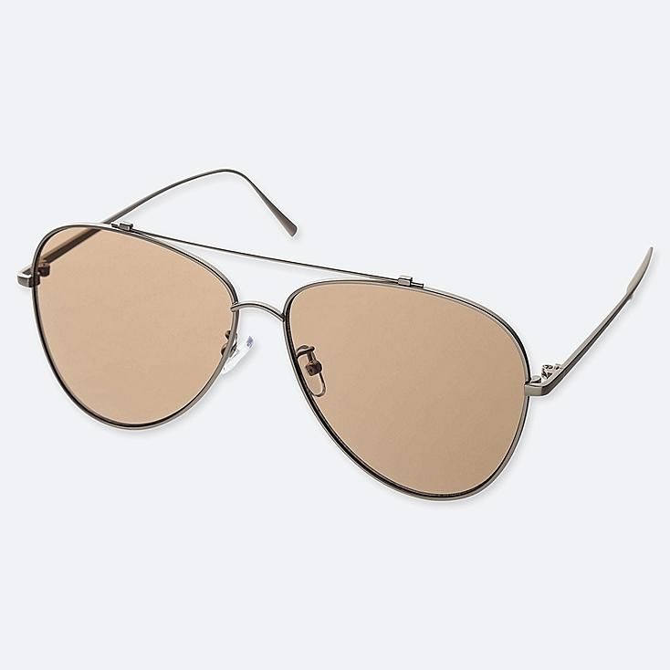 AVIATOR SUNGLASSES, BROWN, large