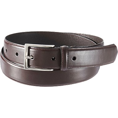 MEN STITCHED BELT, DARK BROWN, medium