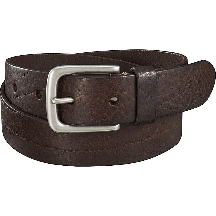 Men Italian Washed Leather Belt, DARK BROWN, large