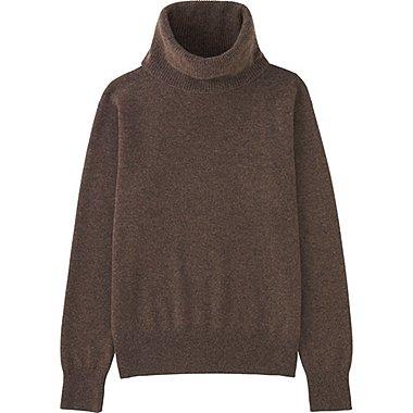 Womens Cashmere Turtleneck Sweater, DARK BROWN, medium