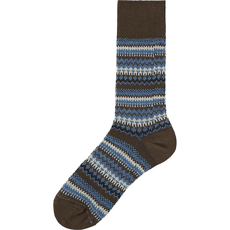 MEN FAIR ISLE SOCKS, DARK BROWN, large