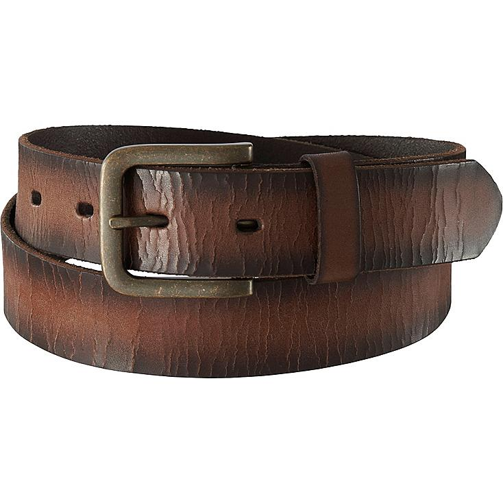 MEN ITALIAN CRACKED LEATHER BELT, DARK BROWN, large