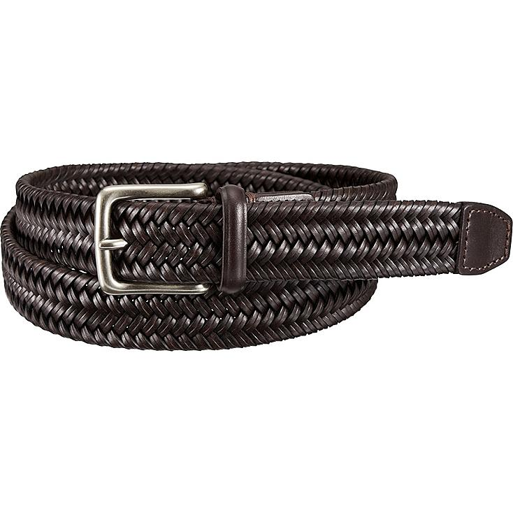 MEN LEATHER STRETCH MESH BELT, DARK BROWN, large