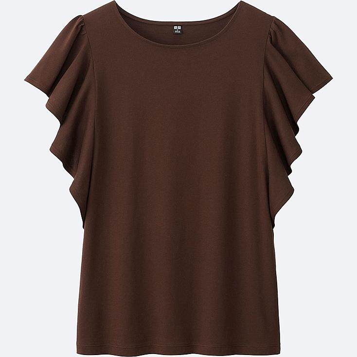 Women frill short sleeve t shirt uniqlo us for Frill sleeve t shirt