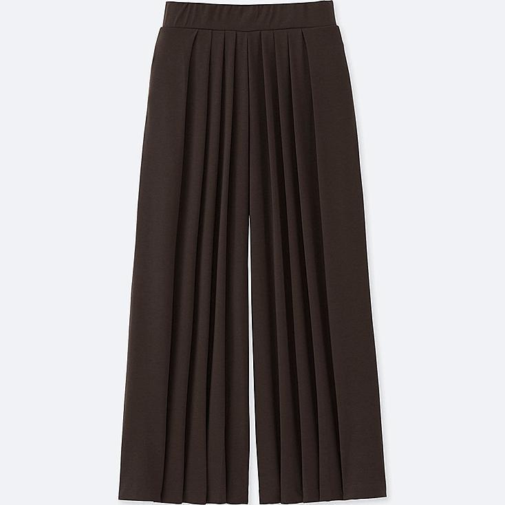 WOMEN TUCK FLARE WIDE PANTS, DARK BROWN, large