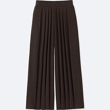 WOMEN TUCK FLARE WIDE PANTS, DARK BROWN, medium