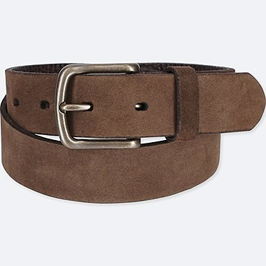 MEN ITALIAN LEATHER SUEDE BELT, DARK BROWN, medium