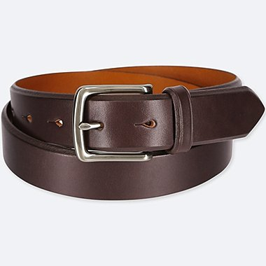 MEN ITALIAN SADDLE LEATHER BELT, DARK BROWN, medium